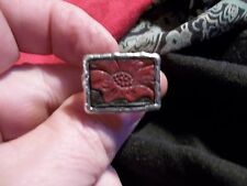 Handcrafted PEYOTE BIRD Sterling Silver Ring with Leather