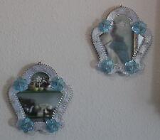 Elegante specchio a parete 2er Set-FIORI DECORO-MURANO DESIGN - 50s 60s wall mirror