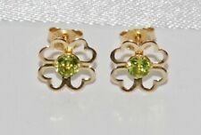 9ct Gold Peridot 4 Leaf Clover Ladies Stud Earrings - Solid 9K Gold