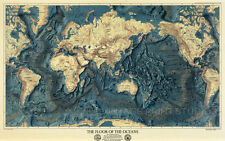 Floor of the Oceans, Vintage Old World Map Poster Giclee Canvas Print 35x22