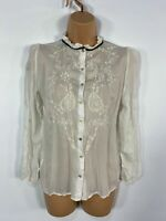 WOMENS ZARA WHITE FLORAL EMBROIDERED LONG SLEEVE CASUAL SHIRT BLOUSE TOP SMALL S