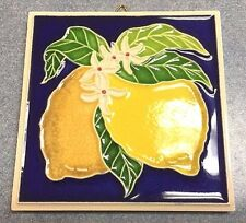 Vietri Pottery- 4x4 inch Tile With Lemon,relief. made/painted by hand in Italy