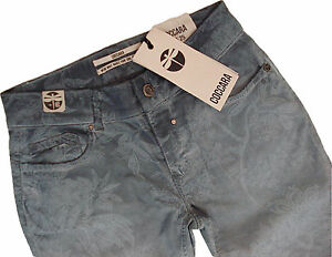 COCCARA  Jeans  CURLY blue flower used  W 25,26,27,28,31 / L32  schmales Bein