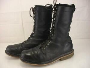Dr. Martens Men's UK 11 US 12 Franz Boots Black Leather Lace-Up Tall Combat Work