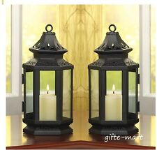 "2 black 8"" colonial western stagecoach Lantern Candle holder outdoor terrace"