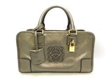 Auth LOEWE Amazona 28 352.70.A03 Bronze Leather Handbag