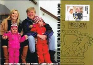 Kaart Royalty 2007 - Liberia - Willem Alexander 40 jaar - Familie (roy007)