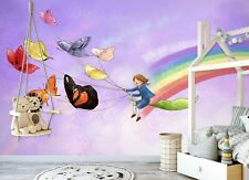 3D Rainbow Girl Zhua8061 Wallpaper Wall Murals Removable Self-adhesive Amy