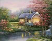 In the Style of Thomas Kinkade Cottages, Hand Painted Oil on Canvas 16 x 20