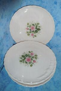 Hutschenreuther Angelique Porcelaine Rose 4 Kuchenteller Landhaus Vintage!