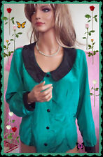 L  VINTAGE  Green Black Shirt Women Button Down Polyester Holiday Career Dressy