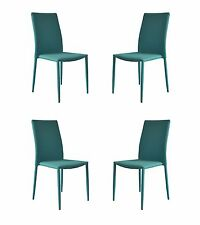 Set of 4 Piece Modern and Sleek Fabric Dining Room Chairs - Blue