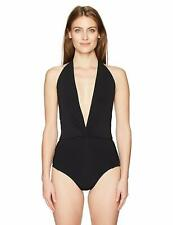 Robin Piccone Black Ava Solid Plunging V Neck Halter One Piece Sz 10 New