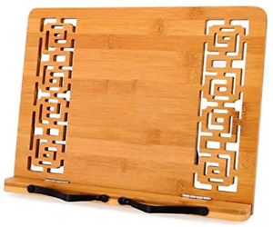 Bamboo Book Stand Ajustable Foldable Reading Frame Rest Holder Cookbook