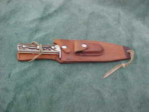 """Linder BOWIE Knife Handmade Solingen Germany INOX 12-3/4"""" Stag Grip Leather Shea"""