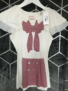 SUPERTRASH WHITE TOP WITH BOW ON FRONT AGE 12 NEW WITH TAGS