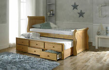 Oak Captain Bed and Guest Trundle Bed inc 3 Drawer Pull Out Storage