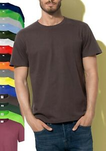 Stedman Plain Cotton BROWN GREEN GREY ORANGE LIME Short Sleeve Tee T-Shirt S-5XL
