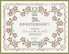 Pearl Wedding Anniversary Sampler - Cross Stitch Kit with clear COLOUR chart