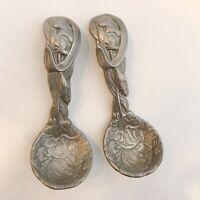 ARTHUR COURT 1993 Bunny Rabbit Aluminum Set Of 2 SERVING SPOONS