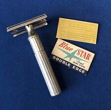 Vintage Gillette (1938-45) Fat Handle Tech Razor Made In Canada/ Blades