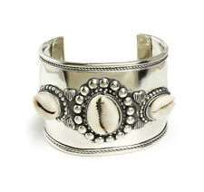 Wide Band Silver Cowrie Shell Bracelet free shipping New