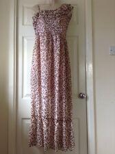 ExHigh Street Peach Leopard Print Chiffon Maxi Dress Half Lined Zip Side Size 10