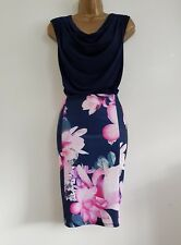 NEW Ex DP 10-22 Navy Pink Floral Print Pencil Cowl Neck Dress Wedding Occasion