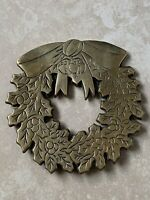 Vintage Brass Trivet Holiday Christmas Holly Wreath Door Wall Hanging Decor