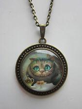Alice nel paese delle meraviglie gatto vetro Cabochon Collana Con Ciondolo Ciondolo Antico Bronzo