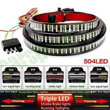"60"" TRIPLE LED Tailgate Light Bar STROBE BRAKE DRL Sequential Turn Signal Strip"