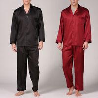 Summer Mens Silk Satin Pajamas Pyjamas PJS Sleepwear Set Loungewear S~ 4XL Plus