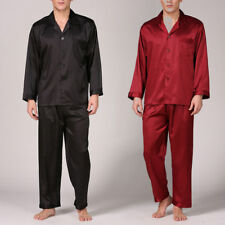 Summer Mens Silk Satin Pajamas Pyjamas PJS Sleepwear Set Loungewear L~ 3XL Plus