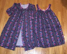 LORRAINE Vintage Gown & Robe Floral Flannel Tapestry Paisley Womens Sz XL #