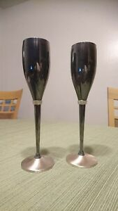 THINGS REMEMBERED SWAROVSKI CRYSTAL COMPONENT SILVER PLATE GOBLETS FOR 2