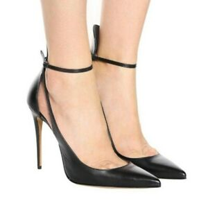 Elegant Pointy Toe Stilettos Ankle Strap Womens 43/44/45 Evening Party Shoes L