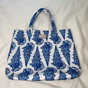Lilly Pulitzer For Estee Lauder Tote Bag Blue Seashells Beach Lined
