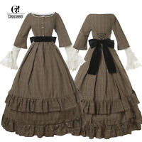 Women Civil War Brown Victorian Dress American Pioneer Colonial Prairie Dress