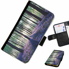 LAV01 FOREST LAVENDER PRINTED LEATHER WALLET/FLIP CASE COVER FOR MOBILE PHONE