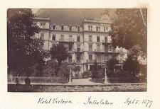SWITZERLAND Hotel Victoria at Interlaken - Antique Albumen Photograph c1879
