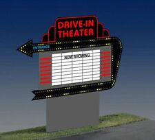 DRIVE-IN THEATER ANIMATED NEON SIGN FOR HO/O SCALE-LIGHTS, BLINKS,MORE!