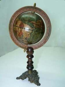 Vintage Globe World Map Ancient Rotating Stand Desktop Decor Italian Wood Brass