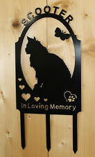 Maine Coon Kitty Cat Pet Memorial Marker Cemetery Stake Personalized Metal Art