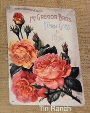 vintage ROSES TIN SIGN 1870 McGregors garden florist chic shabby gardener pretty