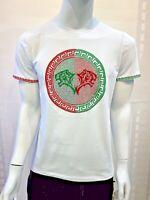 New Mens Short Sleeve Very Slim Fit T-Shirt White Red Green Tiger Rhinestones