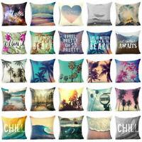 "Cotton linen 18"" Scenery pillow case cover sofa waist cushion cover Home Decor"