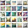 "Cotton linen 18"" Scenery pillow case cover sofa waist cushion cover Home Decor"