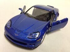 """2007 Chevrolet Corvette Z06 DieCast 5"""" Pull Back 1:36 Scale Kinsmart Toys Blue"""