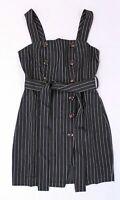 Boohoo Women's Nat Double Breasted Pinstripe Mini Dress  CB8 Black Size US:2 NWT