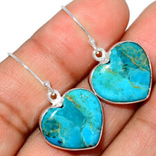Heart - Blue Mohave Turquoise, Arizona 925 Silver Earring Jewelry AE185390